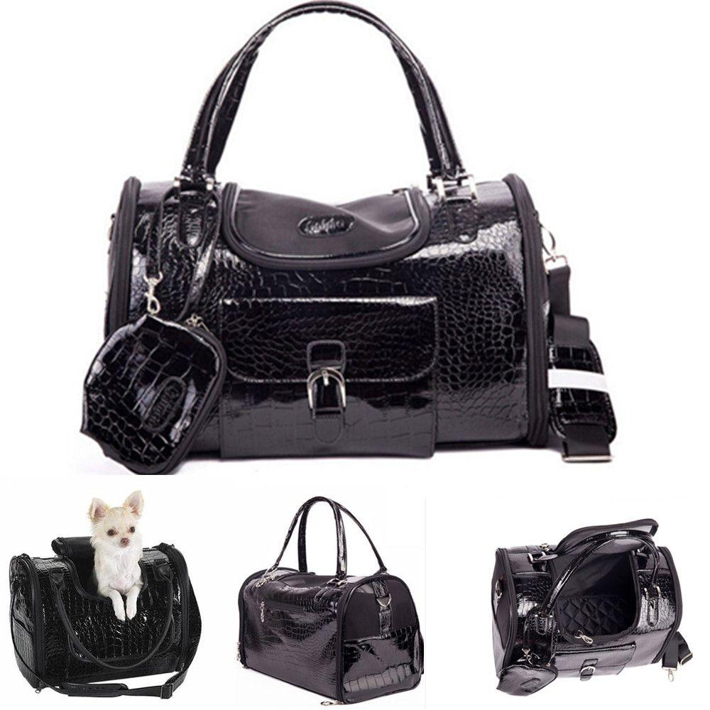 Produits pour animaux de compagnie de Chien En Cuir Noir Transporteurs Sacs Pour Petits Animaux Chats Voyage Sacs élingues sacs à main