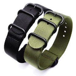 Olahraga gelang jam hitam army hijau nato zulu nylon untuk seiko timex kanvas menonton tali hitam gesper 18/19/20/21/22mm