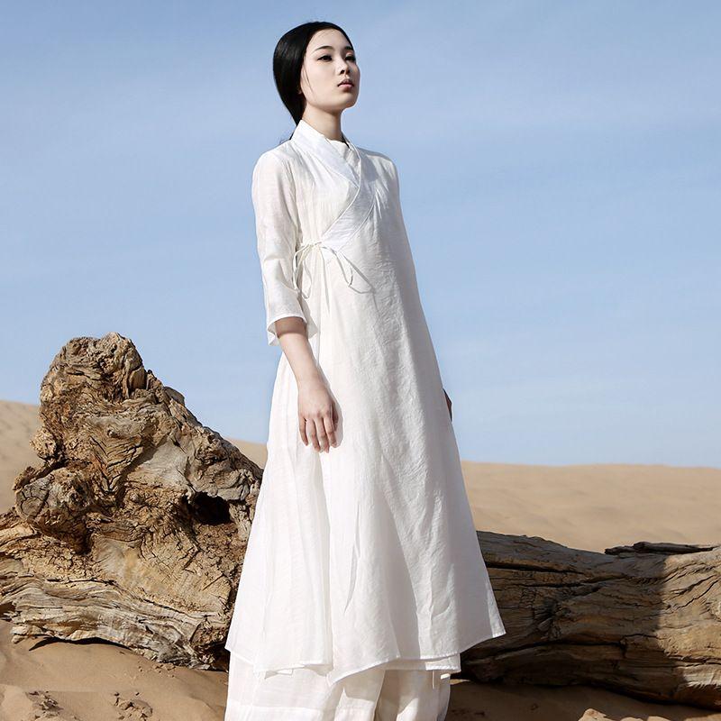 Chinese Traditional Dress Long Sleeve Zen Meditation Tea Dress Clothes Women Cotton Clothing Robe White