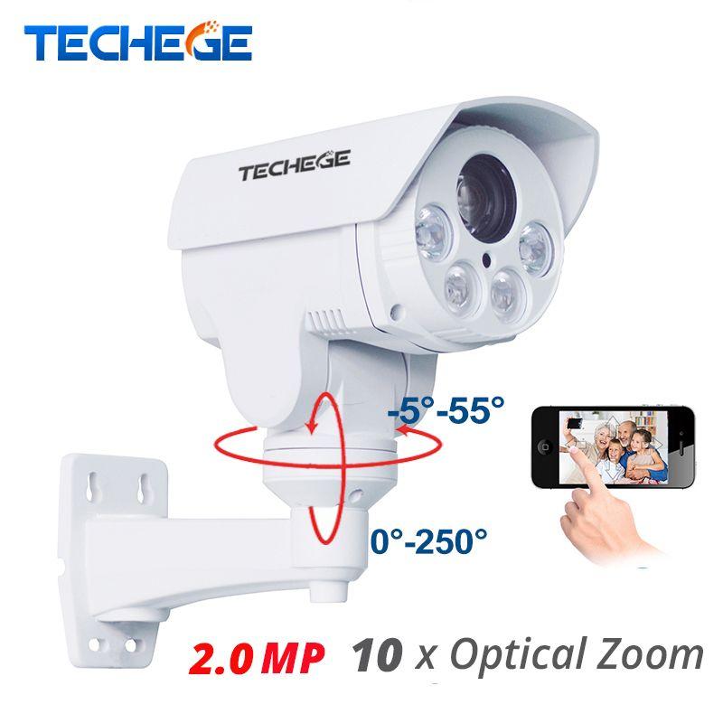 Techege 10xOptical 2.8-12mm Zoom Auto Full HD 1080P 2.0MP PTZ IP Camera Weatherproof Night Vision IR 80M P2P IP Security Cam