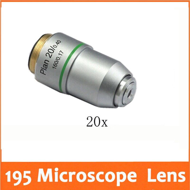 20X 195 Plan Achromatic Biological Microscope Objective Lens for Educational School Lab Student Biomicroscopy Accessories 20.2mm