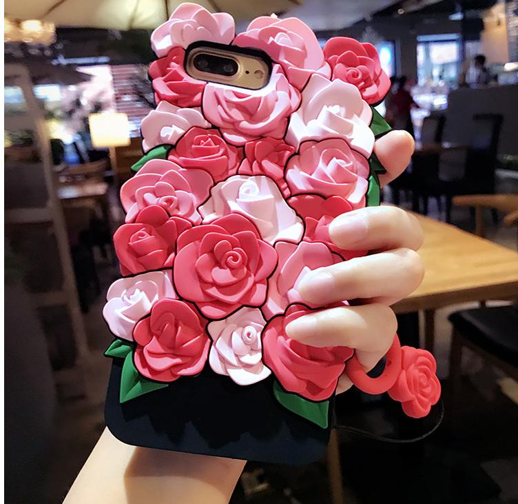 2017 Nouveau 3D Romantique Rose Étui En Silicone pour iPhone 7 7 plus 6 6 s 6 plus 5 5S SE Soft Gel Retour Cas Funda couverture