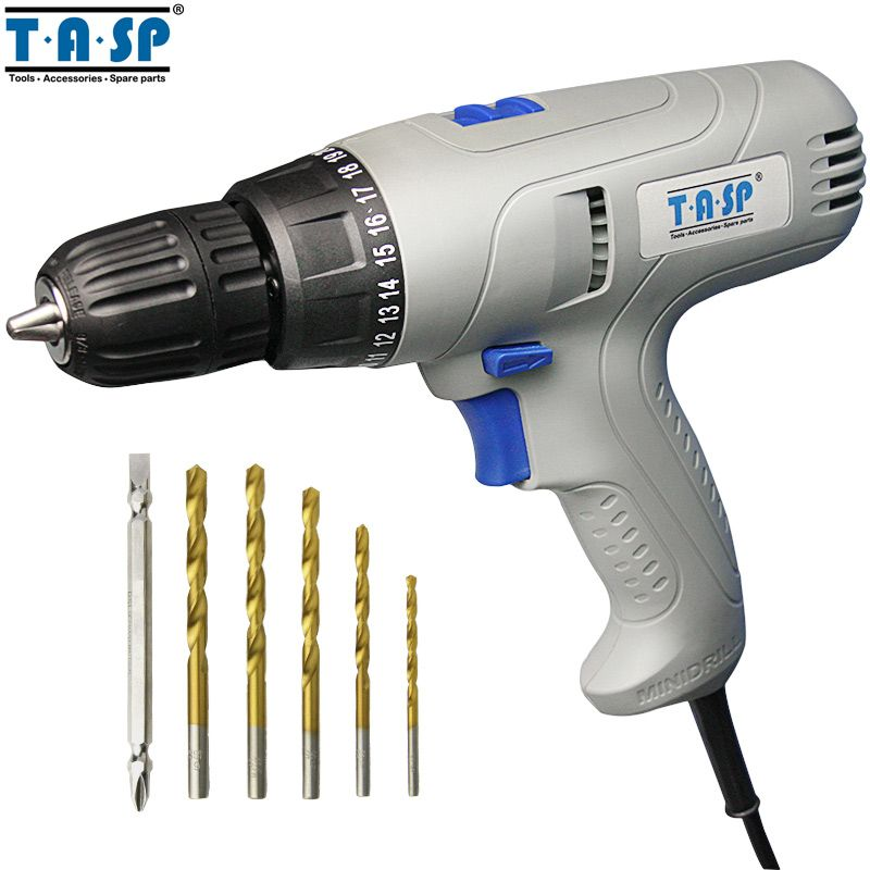 TASP 220V 280W Electric Drill Screwdriver Tool Set Keyless Chuck Torque Adjustable 2-speed for Drilling & Screwing 5m Cable