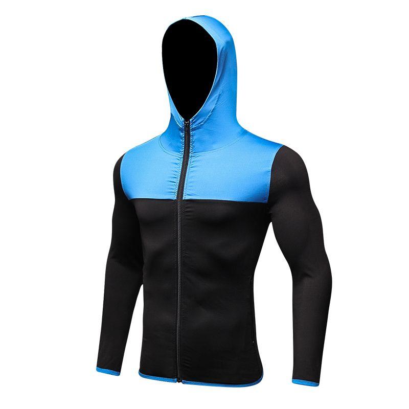 Brand New Full Sleeve Men's Running Hooded Jacket Zipper Quick Dry Sport Shirt Top Gym Clothing Rashgard Black Jacket Men