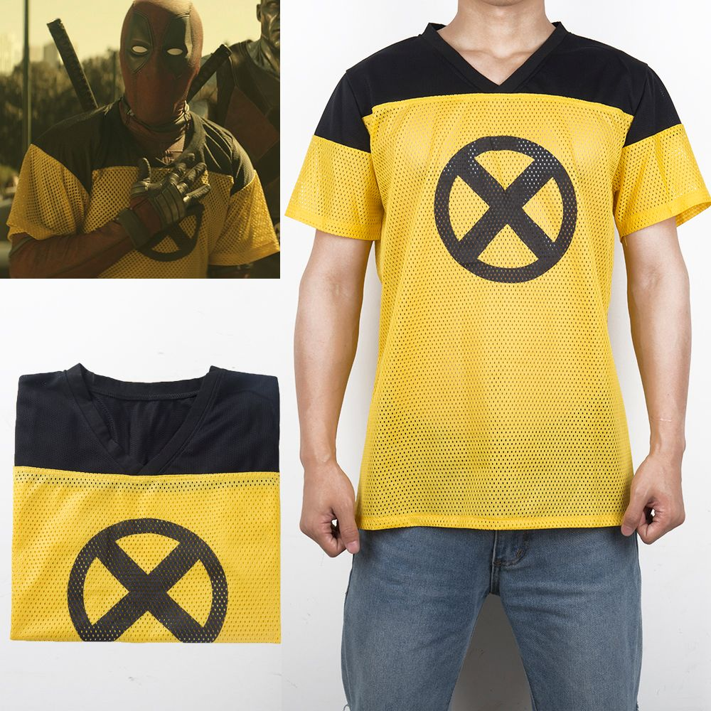 <font><b>1pcs</b></font> Deadpool 2 T-Shirt Superhero Yellow Slim Short Polyester Mens Short Sleeve Cosplay T-shirts Tee Shirts Halloween Costume