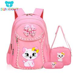 SUN EIGHT Sweet Cat Girl's School Bags Cartoon Pattern Kid Backpack Children School Backpack Girl Bag