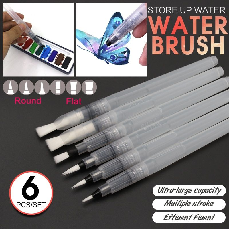 Bianyo 6 pièces forme différente grande capacité baril peinture à l'eau pinceau ensemble pour auto humidification stylo calligraphie dessin Art fournitures