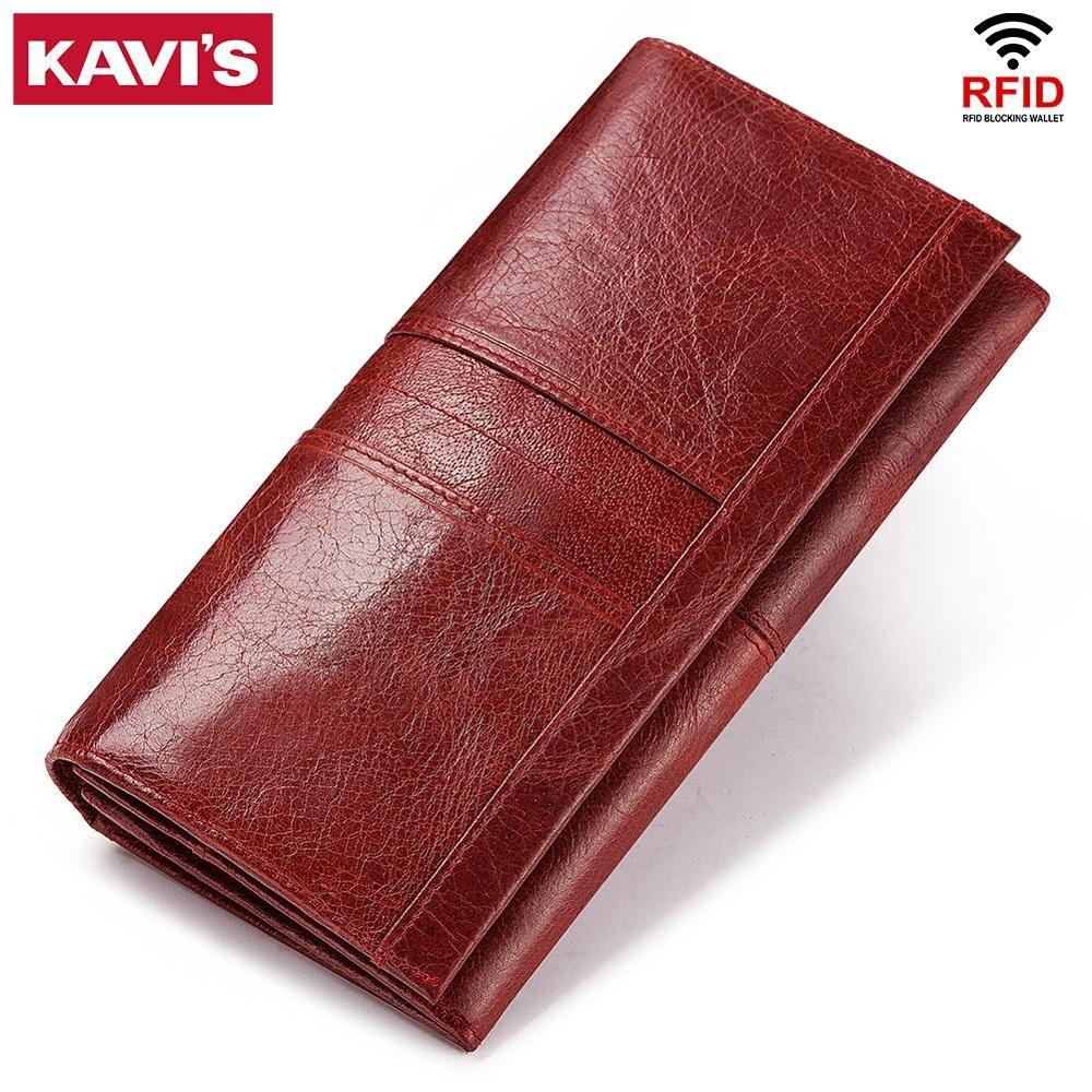 KAVIS pochette pour femmes en cuir véritable portefeuille et porte-monnaie femme Portomonee pince pour sac de téléphone porte-carte porte-passeport pratique