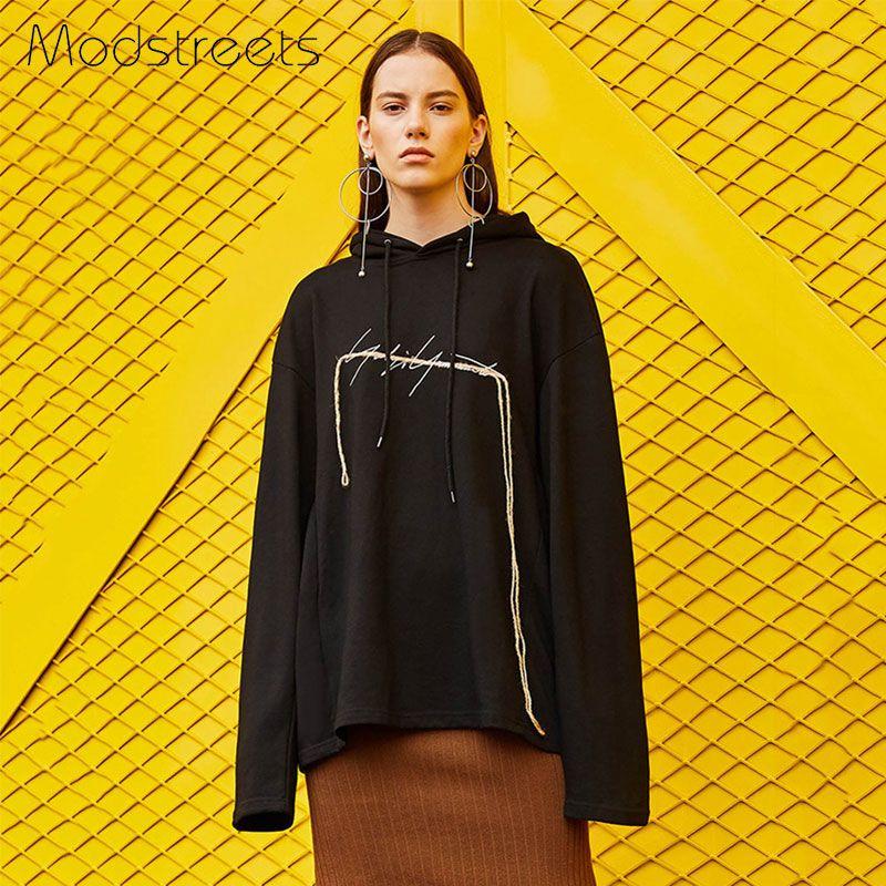 Modstreets толстовки Женщины осень 2017 Свободные толстовки кофты с длинным рукавом с капюшоном пуловер черные зимние женские спортивный костюм M,...