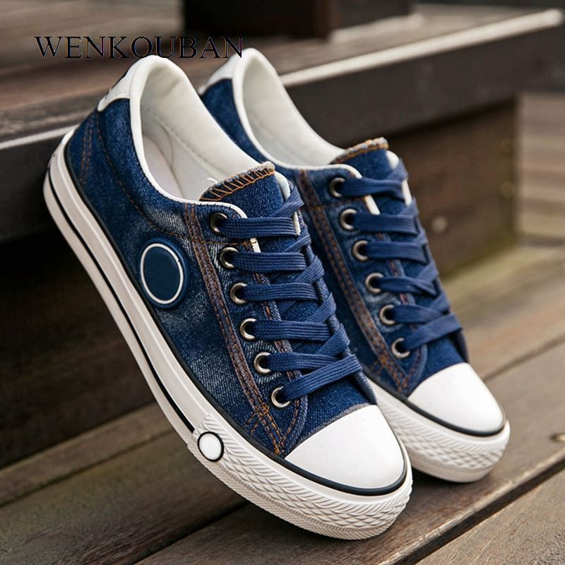 Vulcanized Shoes Women Canvas Sneakers Flat Denim Casual Shoes Women Trainers Stars Ladies Sneakers Rubber Sole Zapatos Mujer