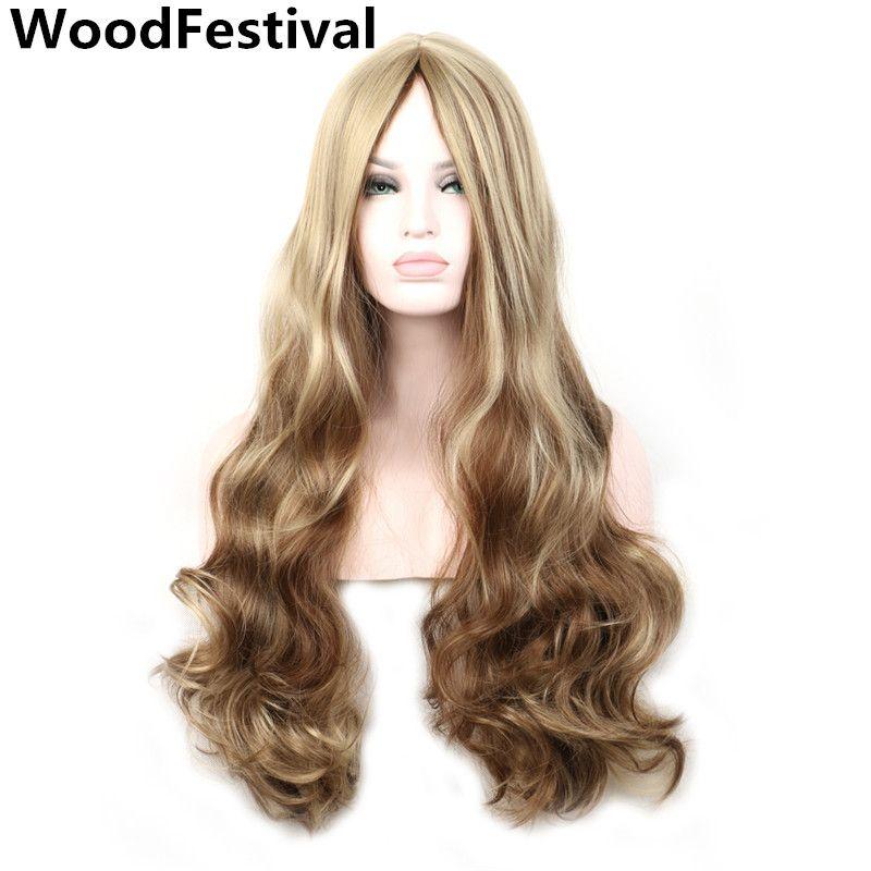 WoodFestival Mix couleur bleu brun longues perruques pour femmes résistant à la chaleur synthétique Cosplay perruque ondulée