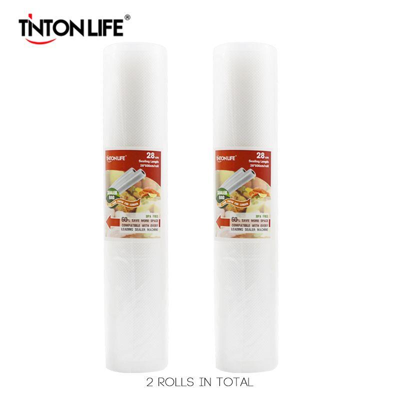 TINTON LIFE 28 cm * 500 cm 2 rouleaux/set sacs de rangement scelleur Sous Vide Grade pour Sous Vide et Foodsaver