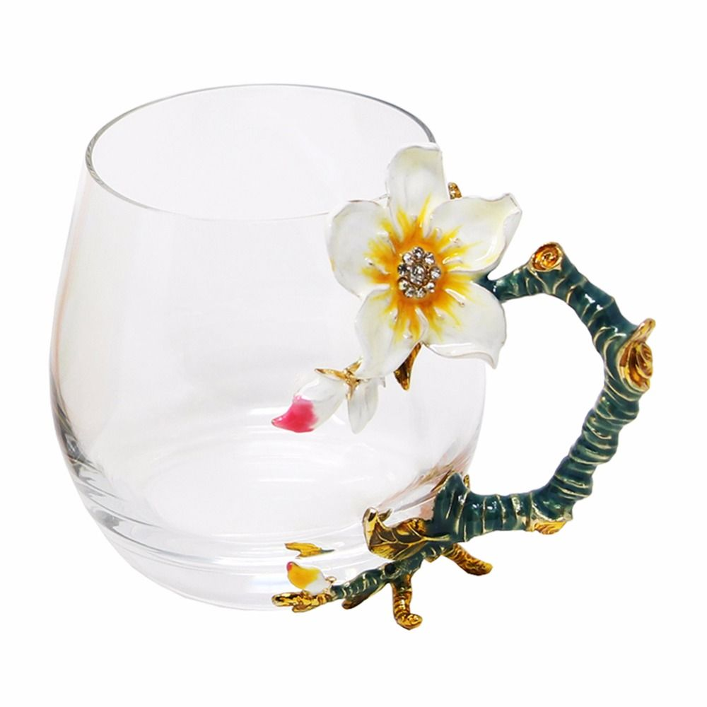 KEYTREND Coffee Mugs Novelty Glass Cups Unusual Flower Enamel Handles <font><b>Perfect</b></font> Gifts for Women AECL102