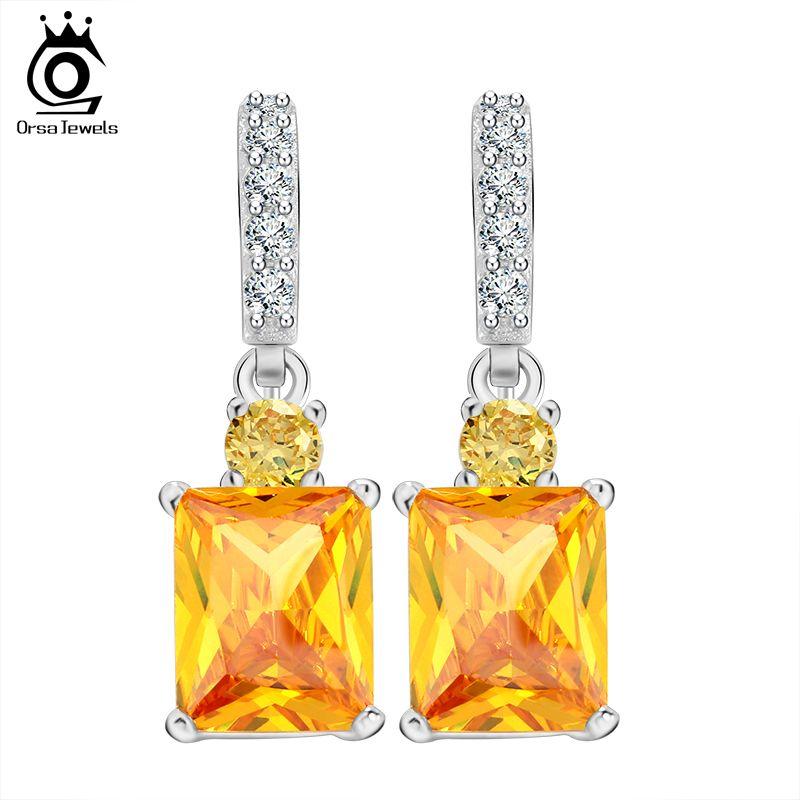 ORSA JEWELS Pendientes piedra zirconia grande amarilla Pendientes colgantes para regalo aniversario mujer Pendientes femeninos OE126