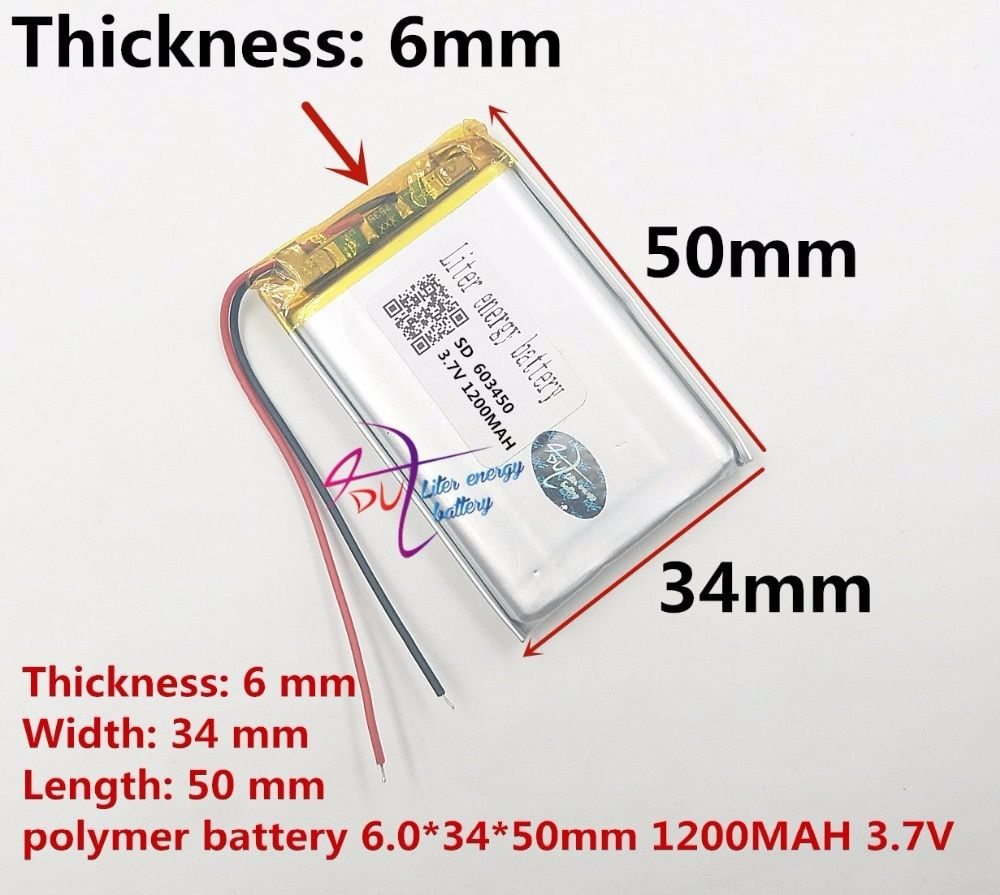 best battery brand Size 603450 3.7V 1200mah Lithium polymer Battery with Protection Board For MP3 MP4 MP5 GSP PSP Digital Produc