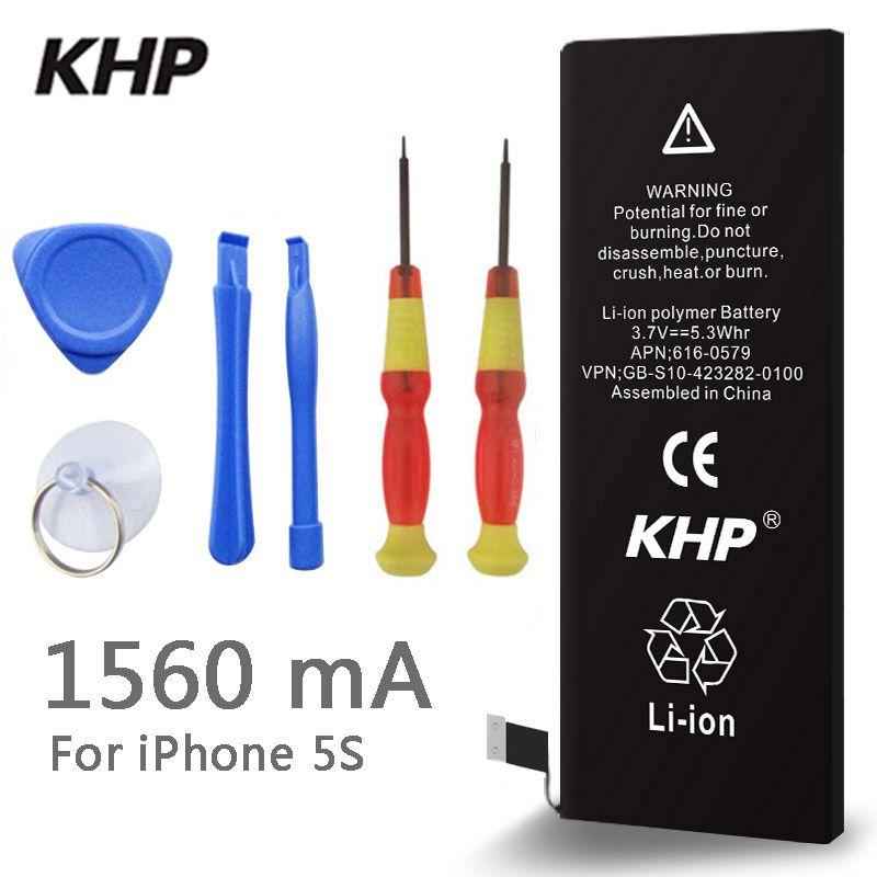 Nouveauté 2018 Kit batterie de téléphone KHP 100% authentique pour iPhone 5S Capacité réelle 1560mAh inclus un set d'outils de précision pour batteries mobiles 0 Cycle