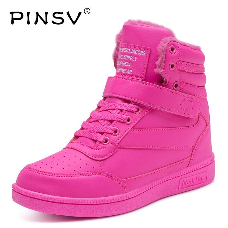 PINSV Winter Schuhe Frauen Turnschuhe Höhe Zunehmende Krasovki Frauen Sport Schuhe Frau Zapatillas Deportivas Mujer Lauf Rosa