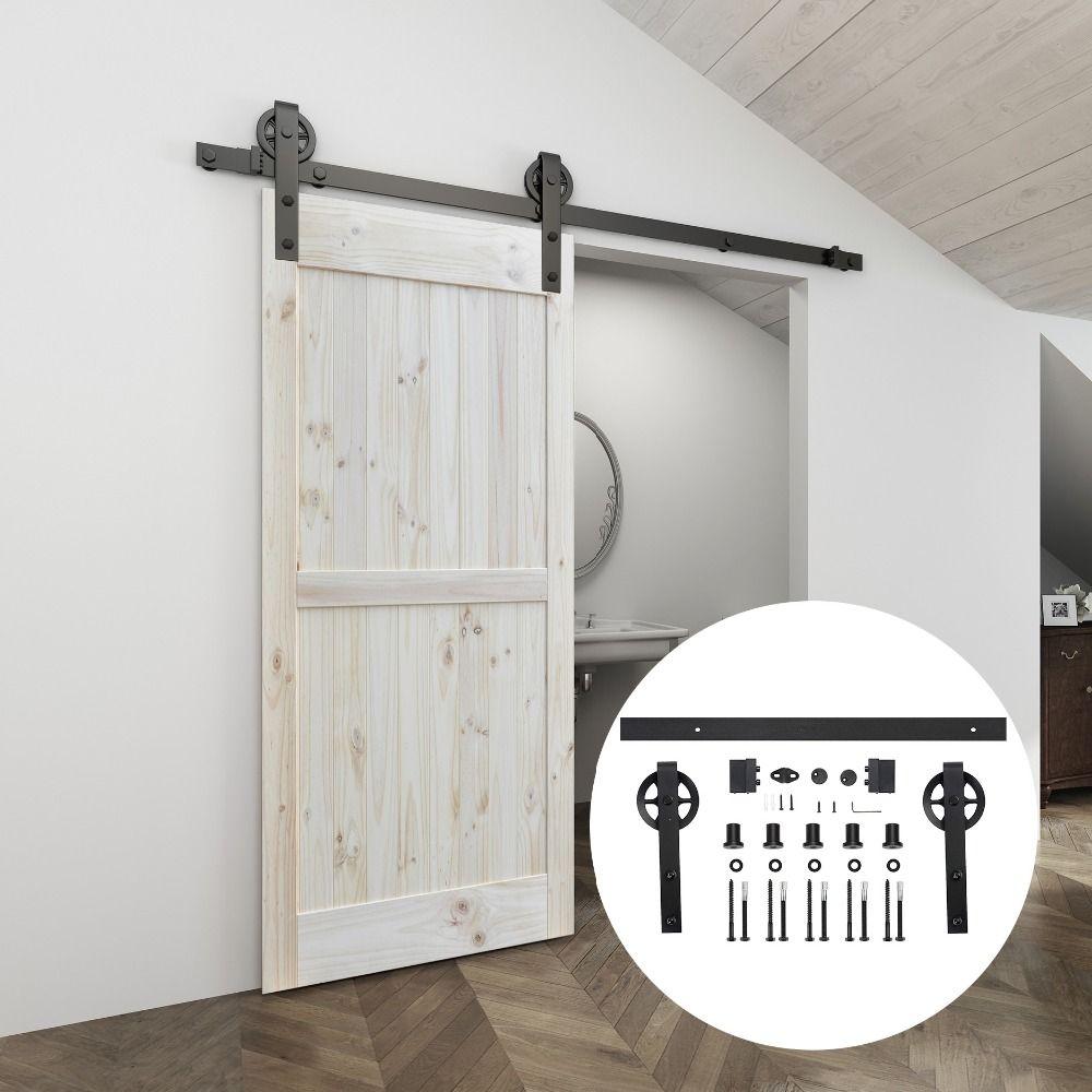 Quincaillerie de porte coulissante intérieure en acier au carbone noir 4.9FT/6FT/6.6FT
