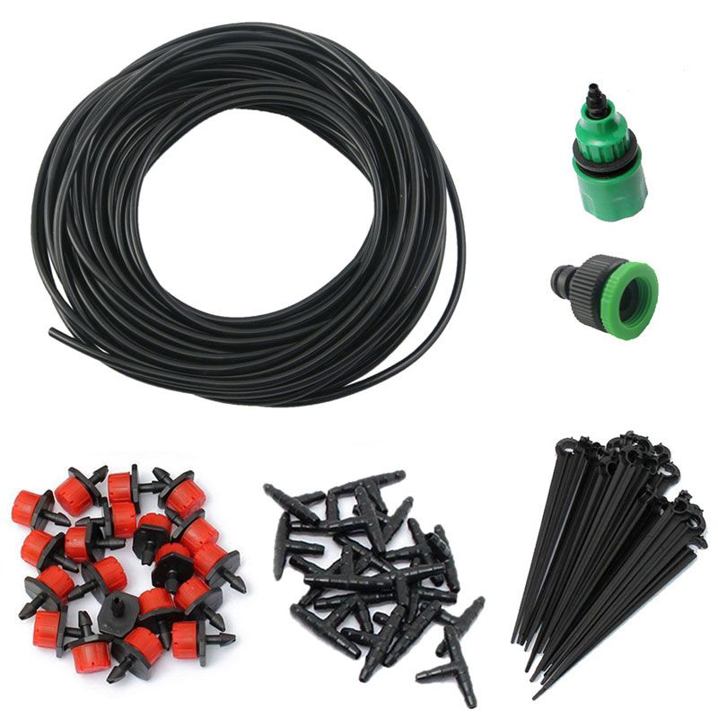 15m Hose Micro Drip Irrigation System 20 Adjustable Dripper Garden Watering Systems DIY Automatic Watering Kits