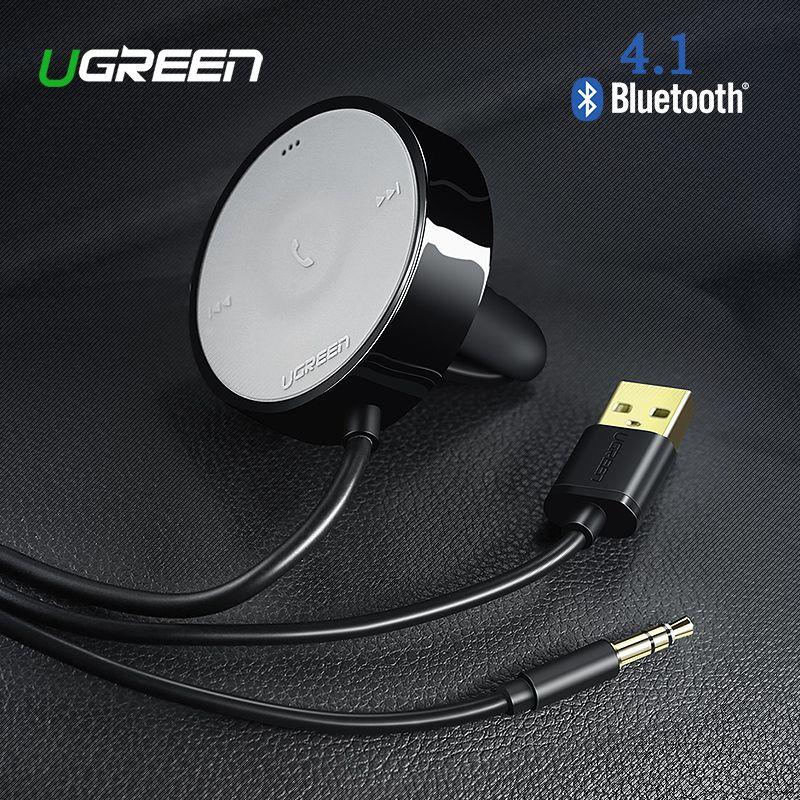 UGREEN Récepteur Bluetooth 4.1 Sans Fil 3.5mm Adaptateur Mains Libres Bluetooth De Voiture Kit Bluetooth Récepteur Audio pour Haut-Parleur De Voiture Stéréo