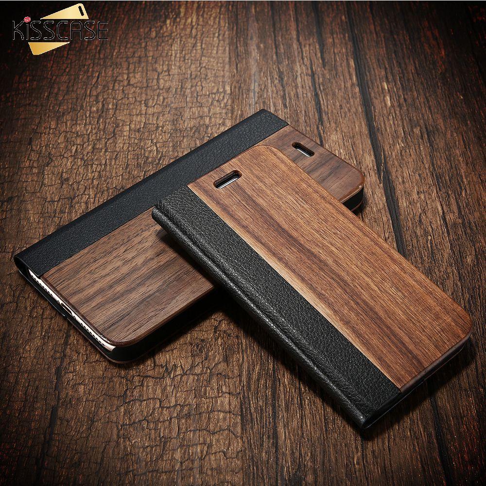 KISSCASE étui pour iPhone XR XS Max X 10 Funda étuis véritable bambou Flip cuir porte-monnaie Coque pour iPhone 7 8 6 6S Plus