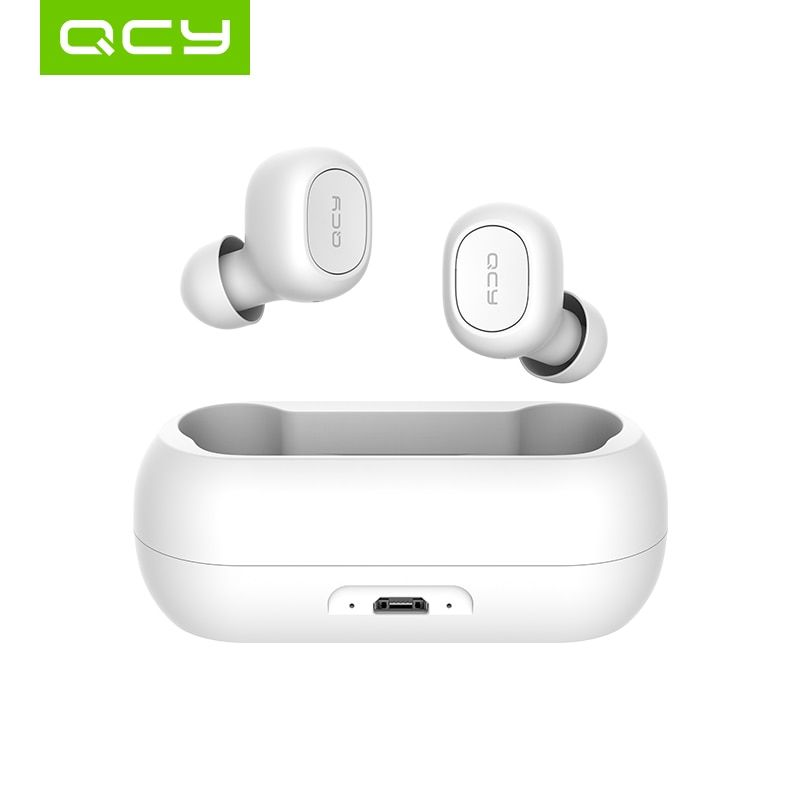 QCY qs1 écouteurs Bluetooth 5.0 TWS casque mini invisible 3D HiFi stéréo casque sans fil avec batterie externe boîtier de charge/T1C