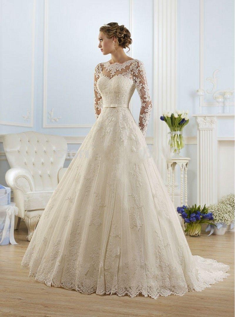 Vestido De Noiva 2017 New Fashionable Elegant High Neckline A Line Long Sleeve Wedding Dress Lace Bridal Gown