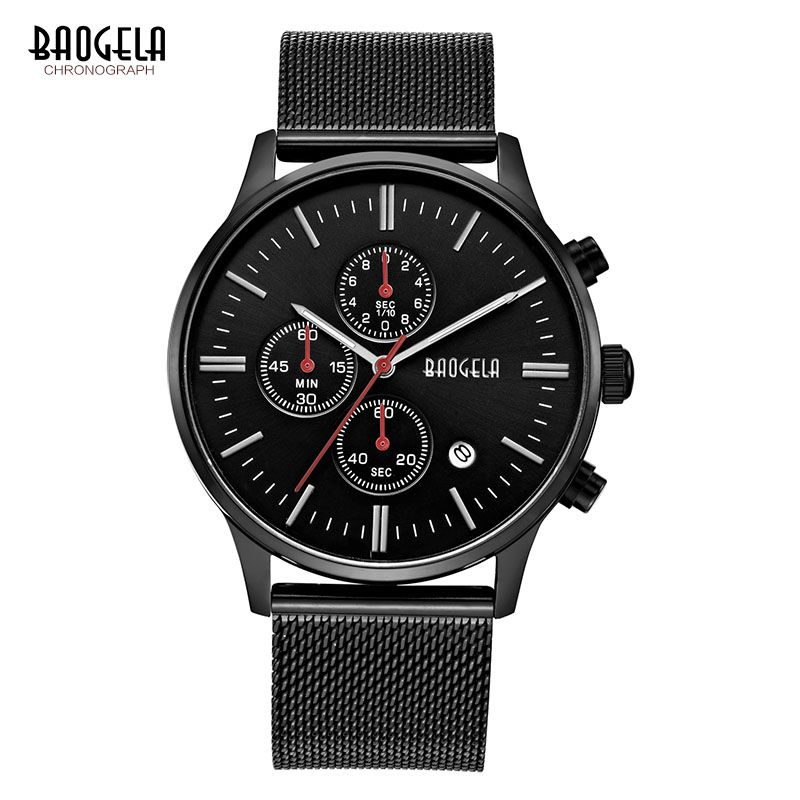 BAOGELA Chronograph Black New Watches Mens <font><b>Quartz</b></font> Watch Stainless Steel Mesh Band Slim Men Gold Watch Student Sports Wristwatch