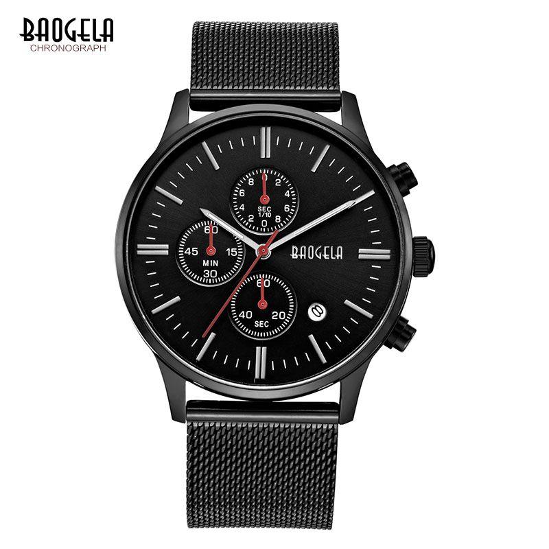 Baogela cronógrafo negro nuevos relojes para hombre de cuarzo reloj de acero inoxidable de malla Band Delgado hombres oro estudiante reloj de pulsera deportivo