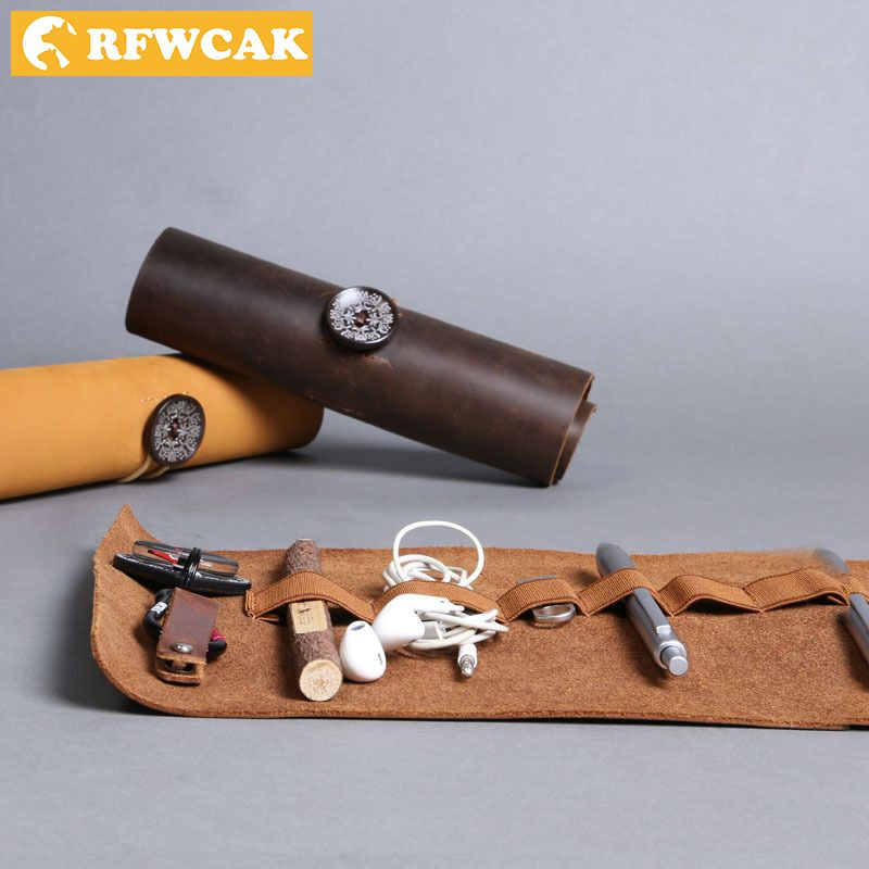 RFWCAK Organizer Genuine Leather Case Storage Bag Cosmetic Storage bag USB Data Cable <font><b>Earphone</b></font> Wire Pen Travel Insert