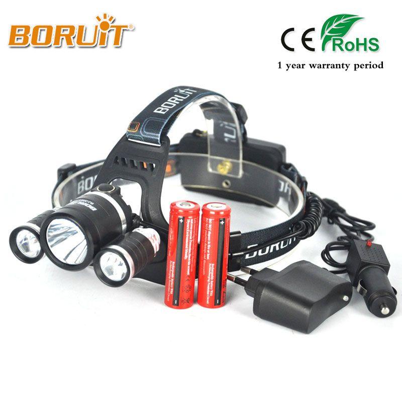 Boruit RJ-3001 8000LM XML L2+2R5 LED Headlight 18650 Battery Head Torch 4Mode <font><b>Headlamp</b></font> Flashlight For Fishing Hunting Head Light