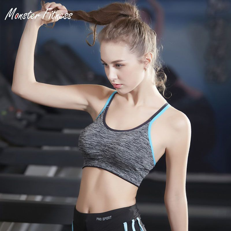 2018 New Fitness Yoga Push Up Sports Bra for Womens Gym Running Padded Tank Top Vest Underwear Shockproof Strappy Sport Bra Top