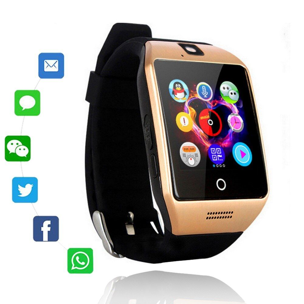 Q18 Bluetooth montre intelligente Q18 Fitness Tracker écran tactile Support APP télécharger TF carte Sim caméra cadran/appel pour téléphone Android