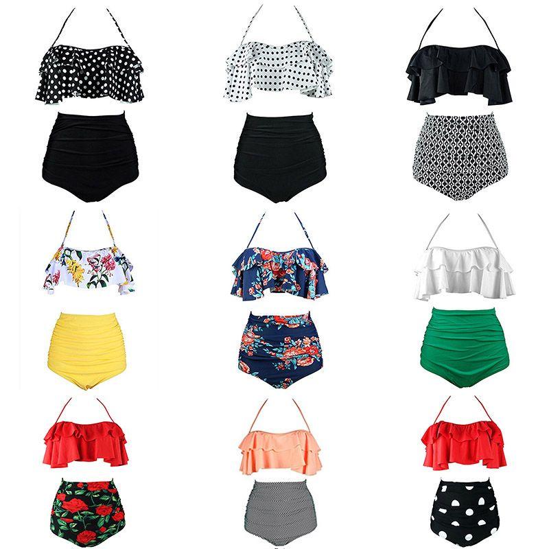 2019 nouveau Bikinis femmes maillot de bain taille haute maillot de bain grande taille maillots de bain Push Up Bikini ensemble Vintage plage porter Biquini