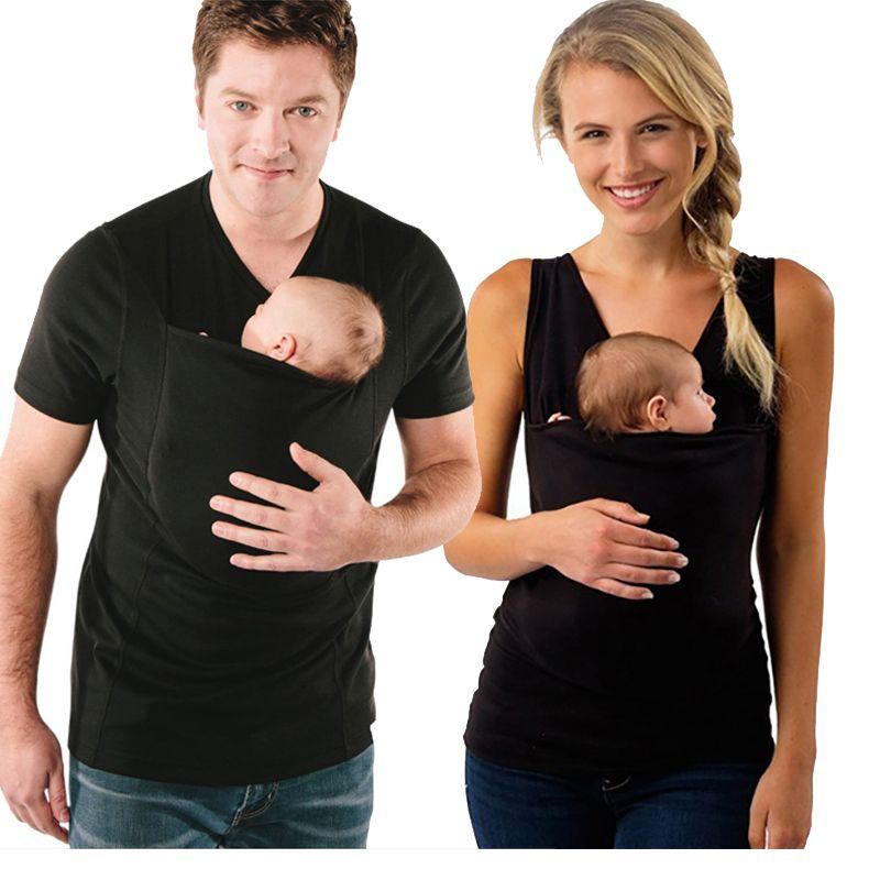 Grande taille S-5XL porte-bébé vêtements kangourou T-Shirt pour père mère avec bébé à manches courtes grande poche multifonction T-shirt