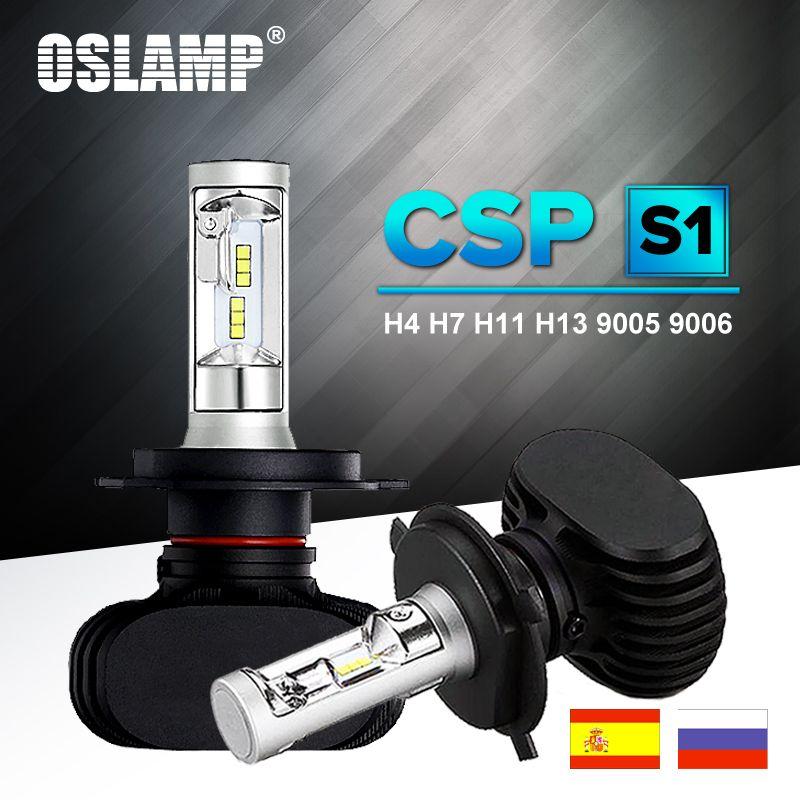 Oslamp светодиодные лампы для авто H7 фар H13 9005 HB3 9006 HB4 LED лампа для авто H4 шарика автомобиля 6500 К csp чип 50 Вт 8000lm фан-менее H8 H11 туман лампы все-в-одн...