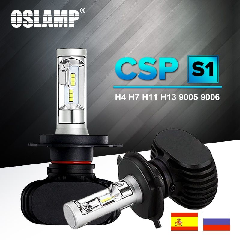 Oslamp Auto Led H7 Headlight H13 9005 HB3 <font><b>9006</b></font> HB4 Led H4 Car Bulb 6500K CSP Chip 50W 8000lm Fan-less H8 H11 Fog Lamp All-in-one