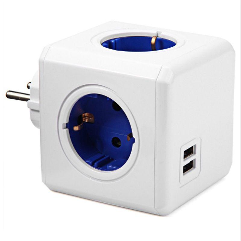 Maison intelligente Puissance Cube Socket UE Plug 4 Sorties 2 USB Ports Adaptateur Power Strip Extension Adaptateur Multi Switched Socket