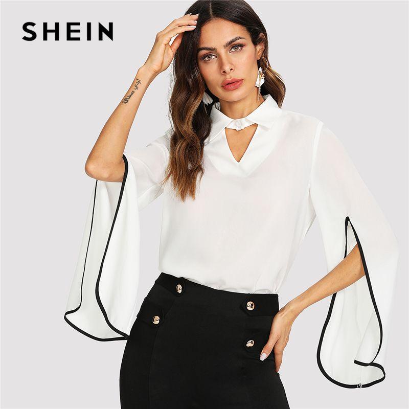 SHEIN White Elegant Workwear Keyhole <font><b>Front</b></font> Split Flounce Long Sleeve Cut Out V Neck Blouse Summer Women Weekend Casual Shirt Top