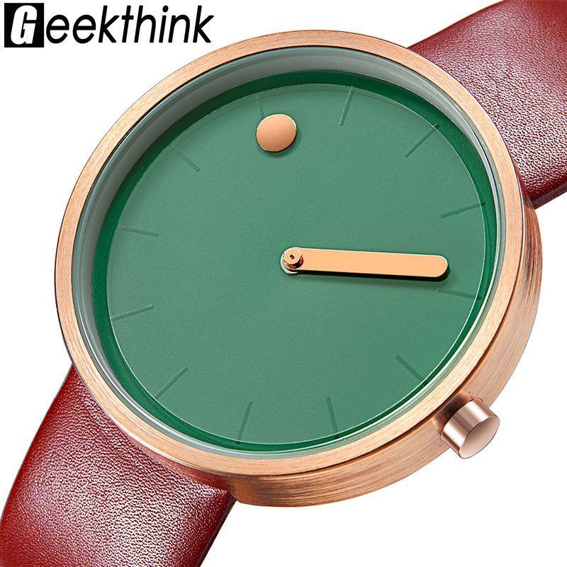 Top Creative Designer Marque Quartz Montre Hommes En Cuir Casual Unisexe Simple montre-Bracelet Horloge Mâle Cadeau relogio Masculino