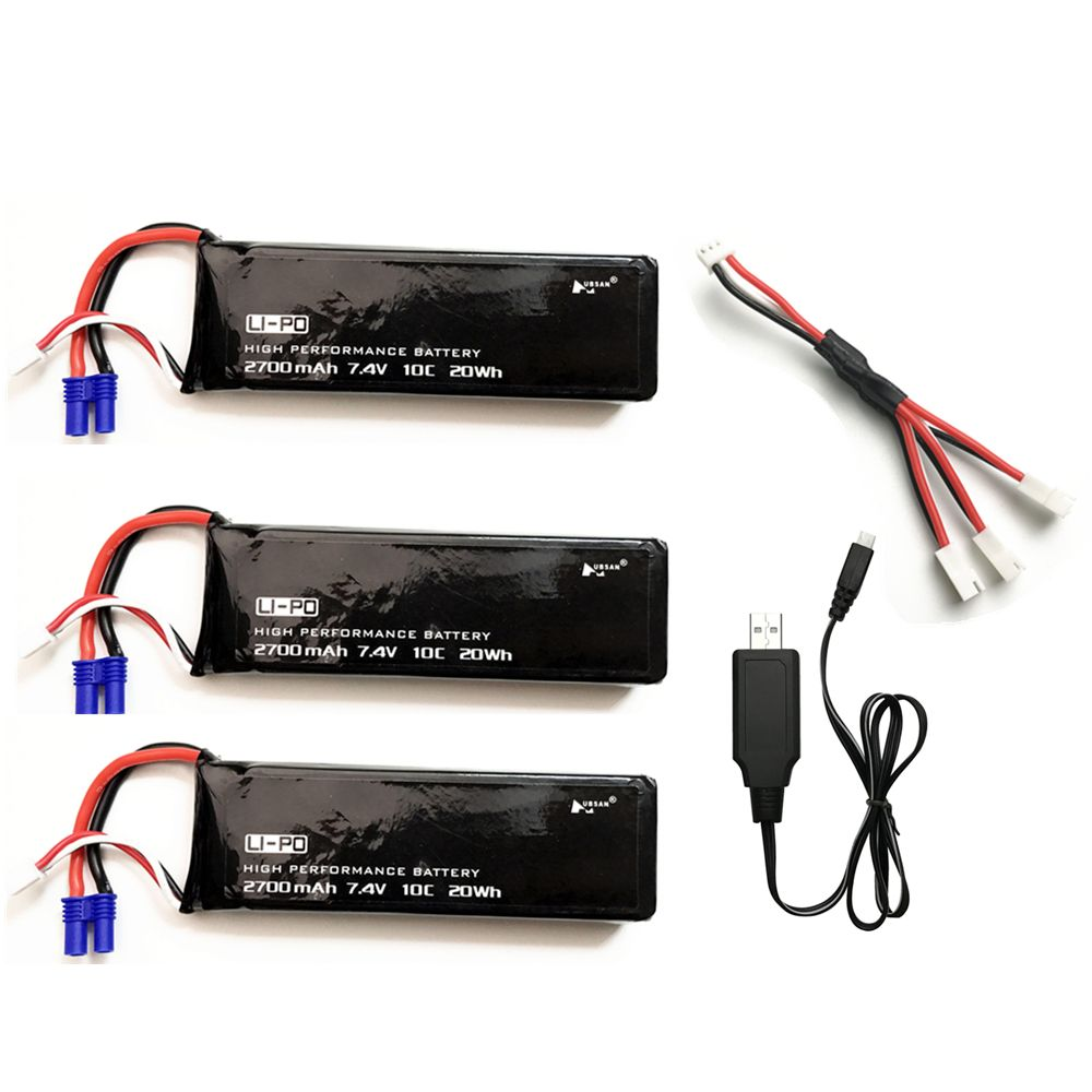 5pcs/sets 7.4V 2700mAh 10C 20wh Lipo Battery + 3-In-1 Cable + USB Charger For Hubson H501W H501S H501A H501C X4 RC Quadcopter