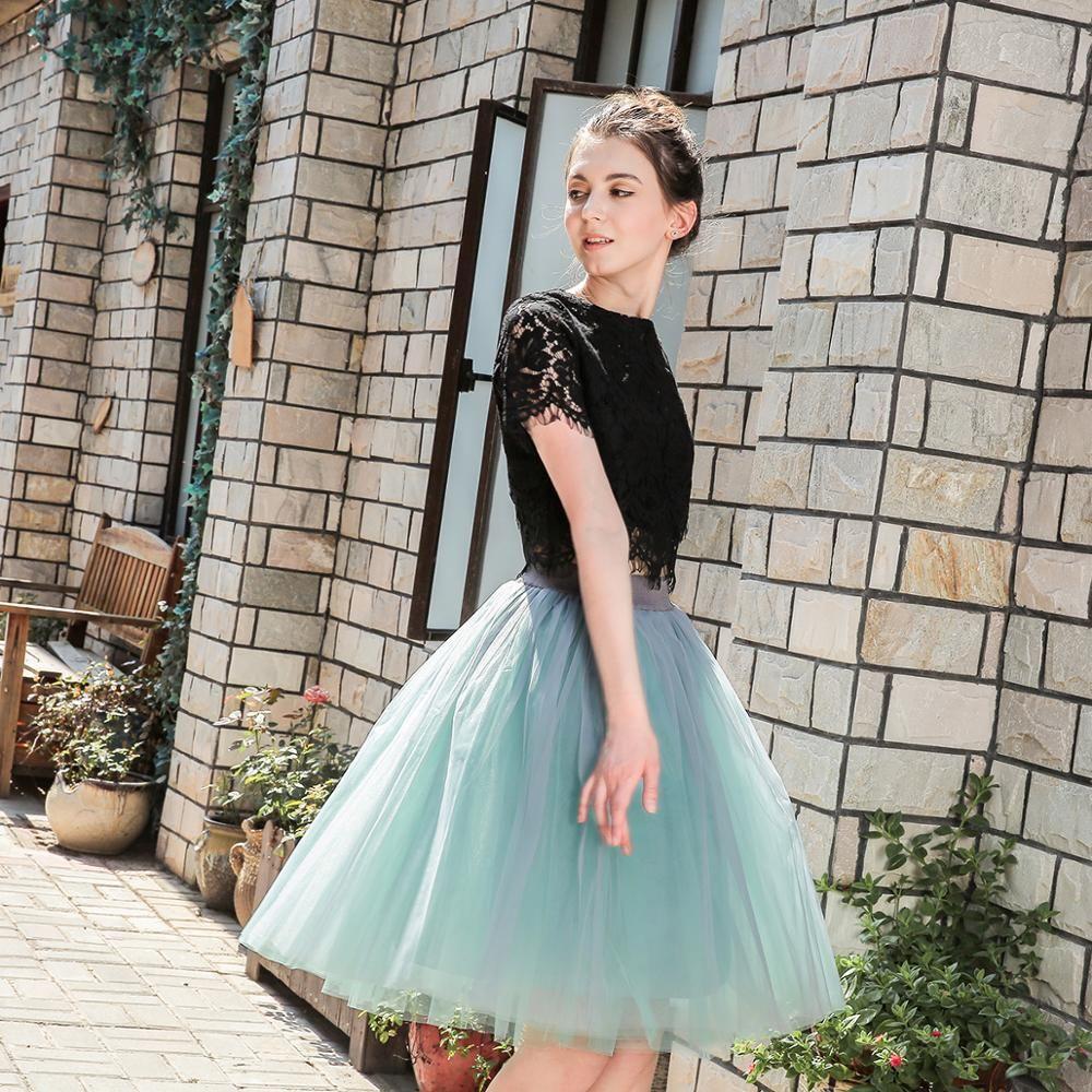 5 couches 60cm princesse Midi Tulle Jupe plissée danse Tutu jupes femmes Lolita jupon Jupe Saia faldas fête Puffy jupes