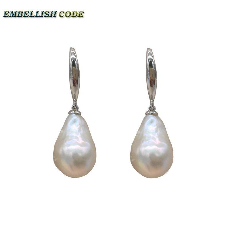 Taille normale spéciale baroque perle nucléate stely accrochage boucle d'oreille flamme boule forme blanc naturel eau douce 925 argent Sterling