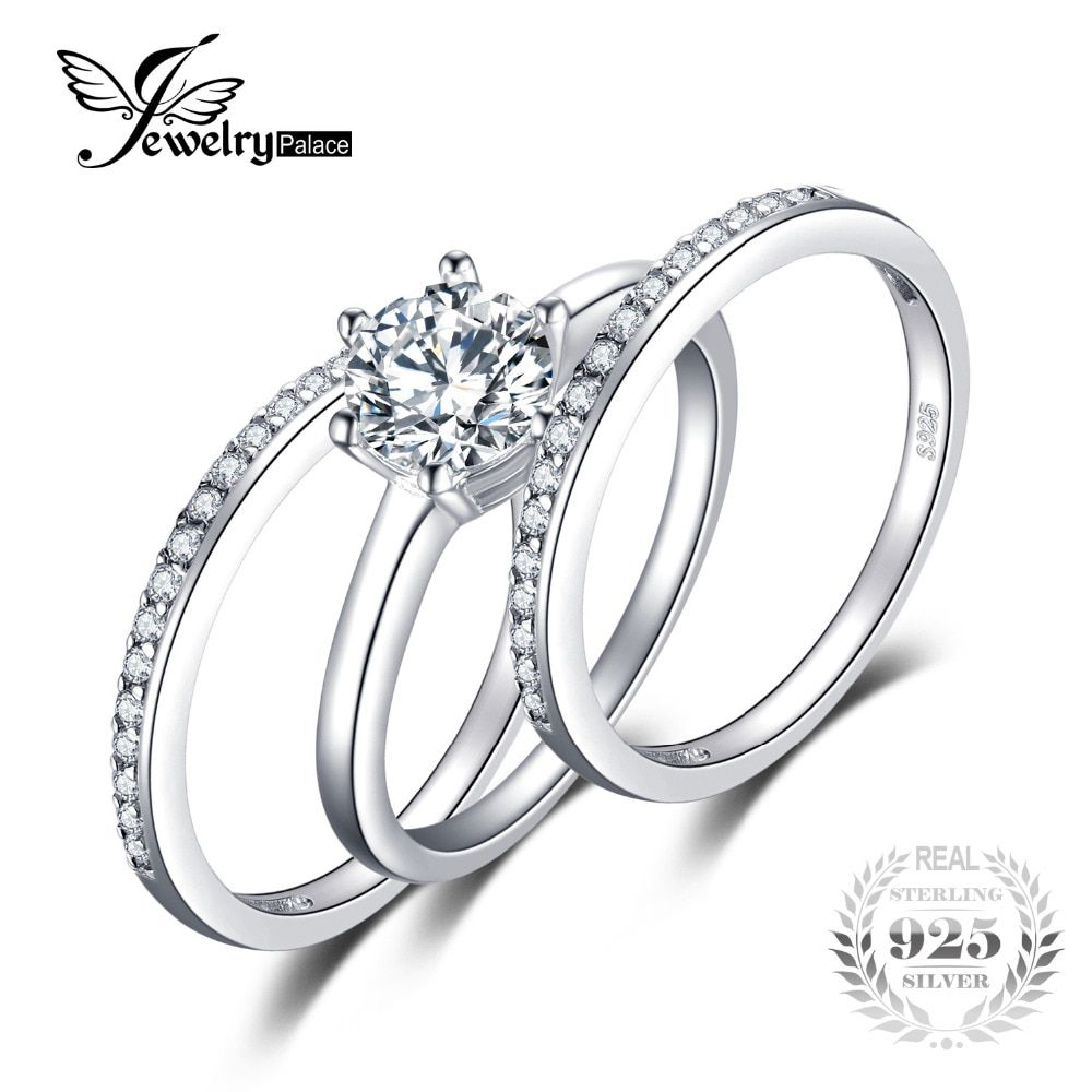 3 Pieces Band Ring Genuine 925 Sterling Silver Ring Sets Prongs Round Cut Setting Outstanding Engagement Wedding