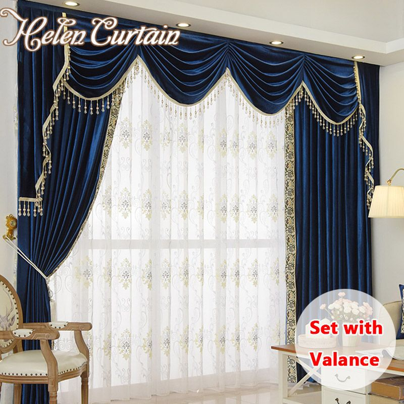 Helen Curtain Set Luxury Velvet Royalblue Curtains For Living Room European Valance Curtains For Bedroom Beads Curtains HC302