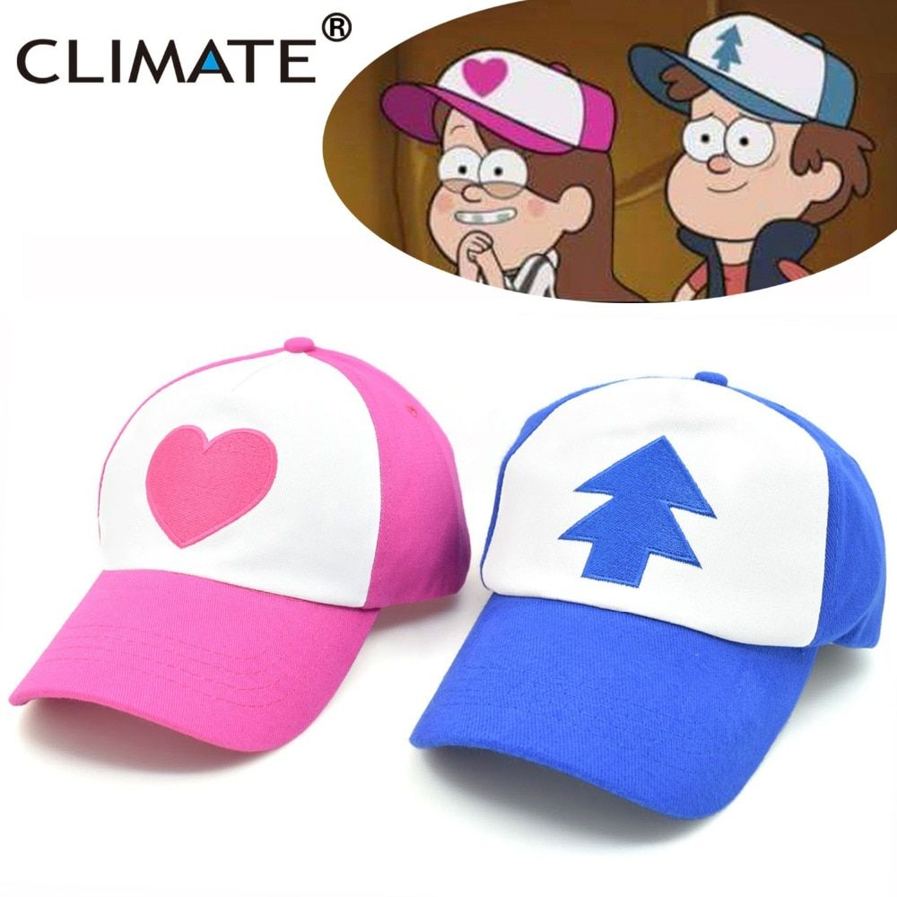 CLIMATE 2017 New Spring Summer Gravity Falls U.S Cartoon Mabel Dipper Pines Cosplay Cool Baseball Mesh Caps Adjustable Sport Hat