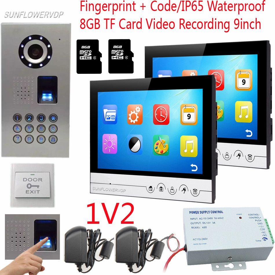 Fingerprint Code Home Video Door Phone 9