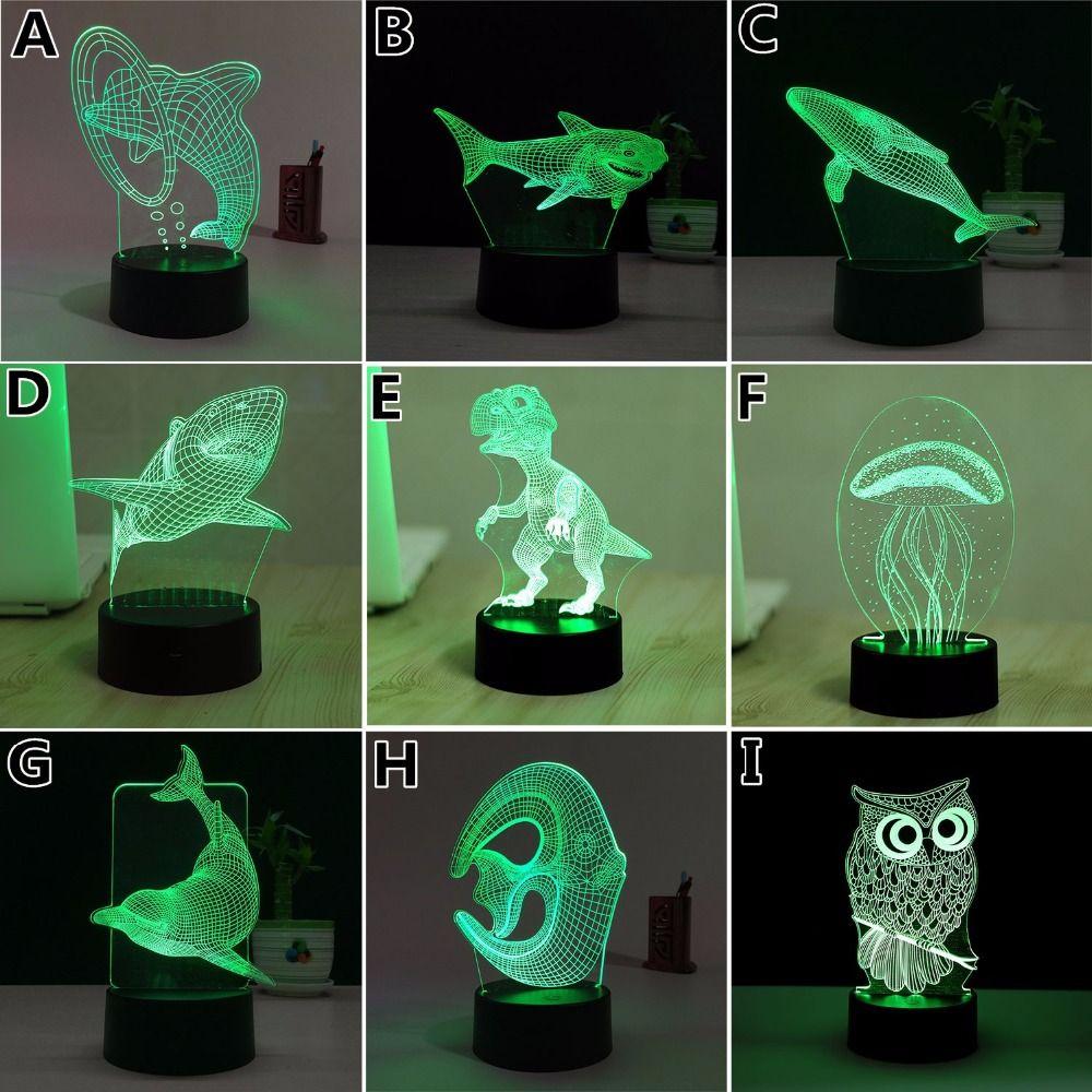 7 Color Medusas 3D Visual Llevó Las Luces de Noche para Niños Mesa Táctil USB Lampara Lampe de Dormir Del Bebé de Luz Nocturna