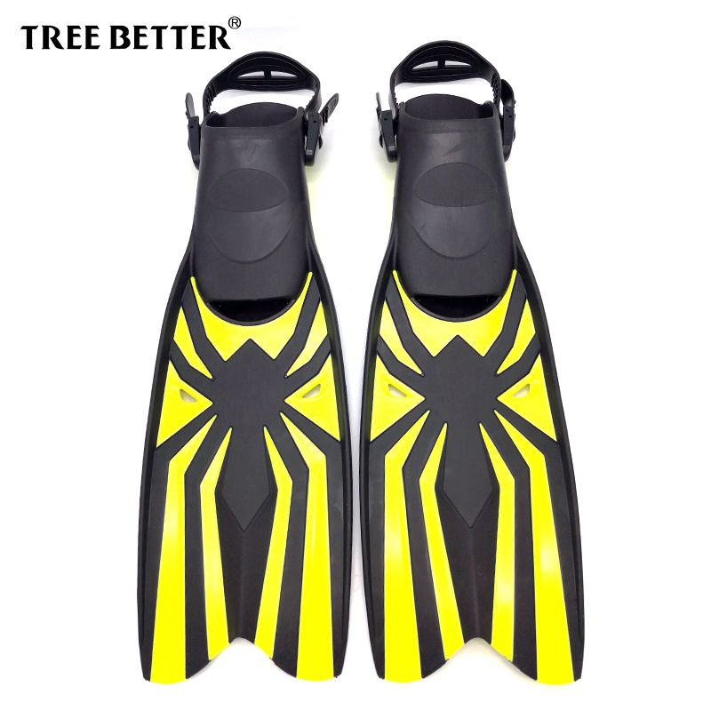 TREE BETTER Adult Snorkeling Diving Swimming Fins Open heel Professional Diver Swim Foot Flipper long Diving Fins Yellow S XL
