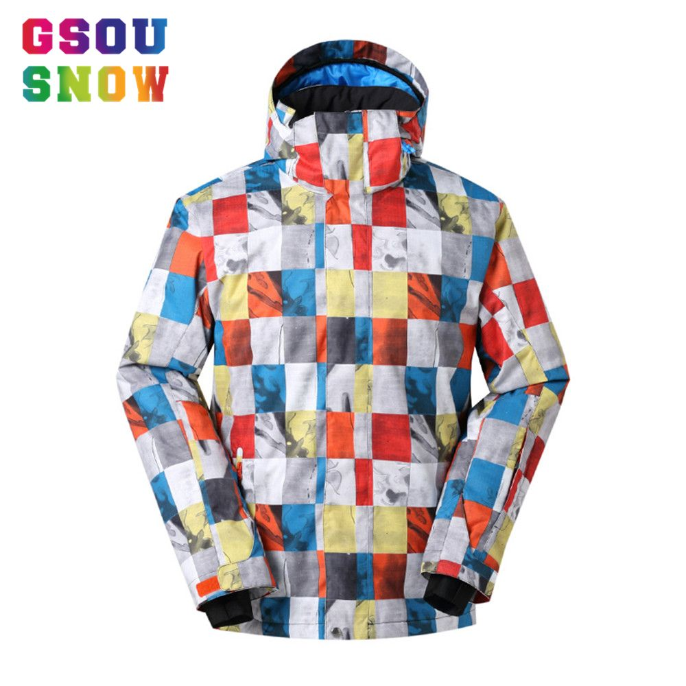 Gsou Snow Ski Jacket Men Snowboard Jacket Waterproof 10K Breathable Thermal Winter Snow Coats Outdoor Mountain Ski Sports Jacket